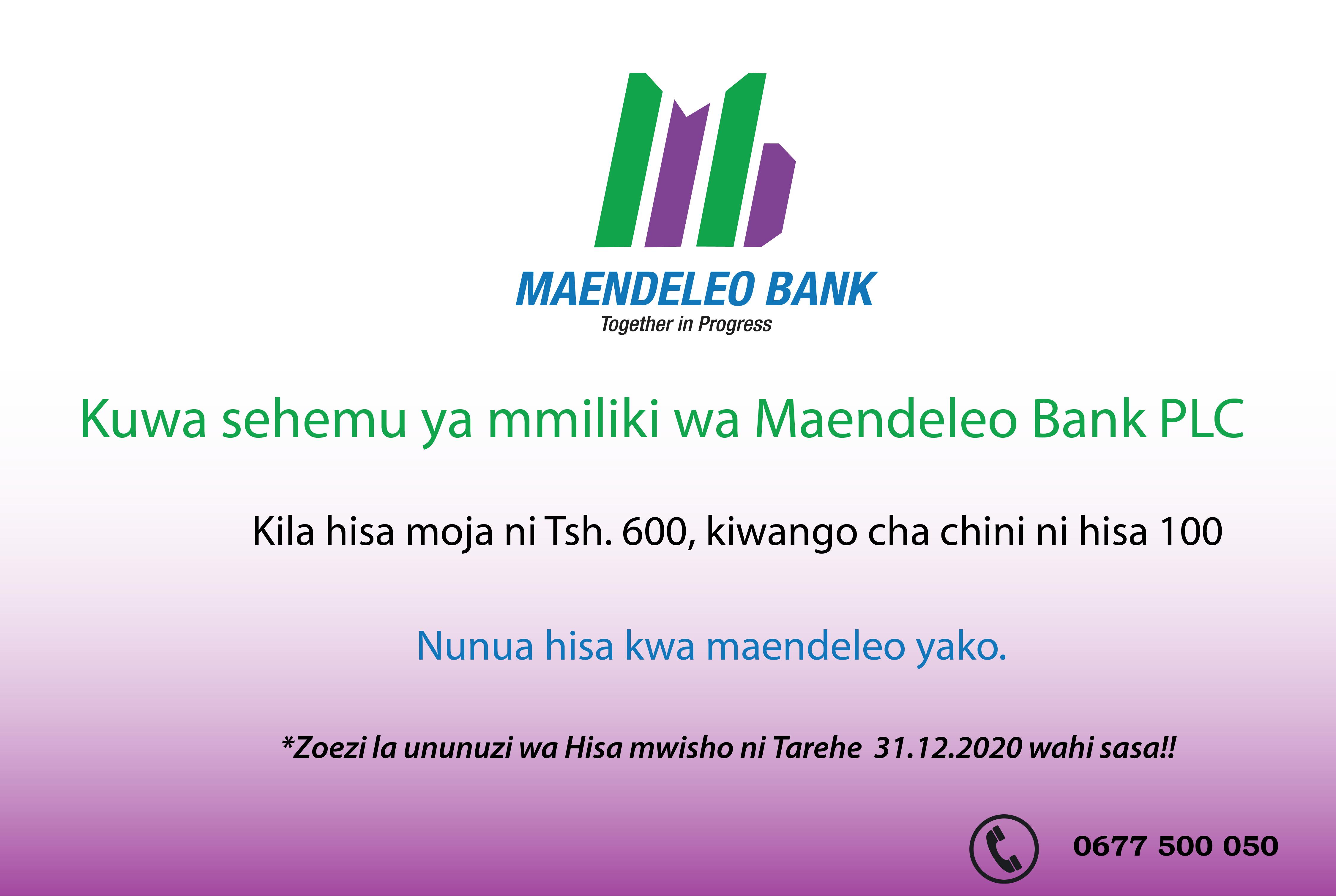 KUFUNGWA DIRISHA LA UUZAJI WA HISA ZA MAENDELEO BANK